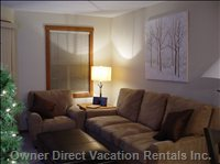 "Comfortable Living Area with Views of the Mountain. - Kick Back in Comfort, Relax after a Long Day Skiing and Watch a Movie on the 46"" TV.  the Sofa Bed is the #1 Rated Bed for Comfort on the Market."
