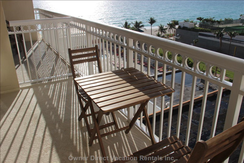 Have your Morning Coffee on our Balcony Overlooking the Beach and Pool.