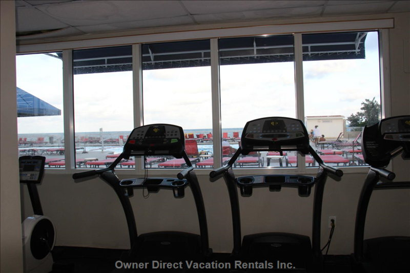 The Gym Overlooks the Pool and Ocean.
