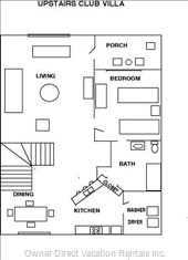 Floorplan for this 1,100 Square Foot one Bedroom Condo