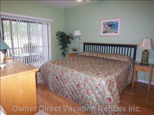 Ground Level Bedroom with King Bed, Private Bath, TV, Porch Access & more