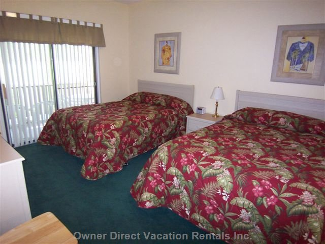 Bedroom with 2 Queen Beds, Private Bath, TV & Porch Access