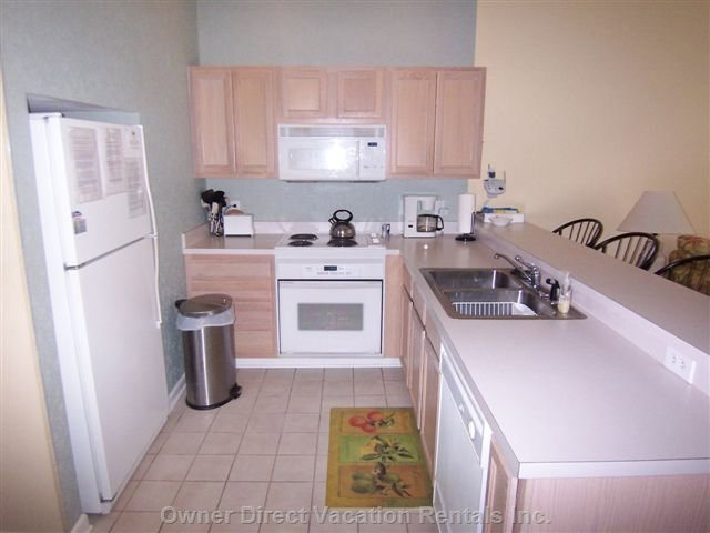 Fully Equipped Kitchen as Viewed from the Master Bedroom