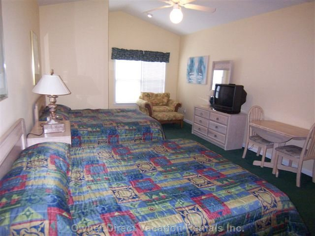 Guest Bedroom with 2 Queen Beds as Viewed from the Kitchenette