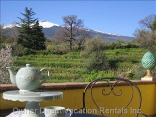 Balcony with Undisturbed Mount Etna View
