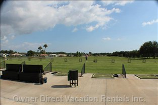 Tara's Driving Range, Viewed from Bar and Restaurant.  With in Walking Distance of the Condo.