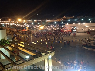 The Festa at Night.  View from the Upstairs Balcony.