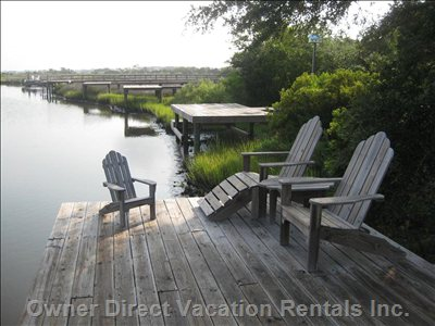 Private Dock on Marsh Front Duplex