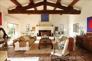 Great Room, Original Wooden Beams and Fireplace