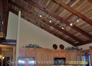 Heavy Wood Beam and Cedar Ceiling to 19 Ft in Great Room