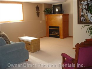 Downstairs Family Room with Gas Fireplace