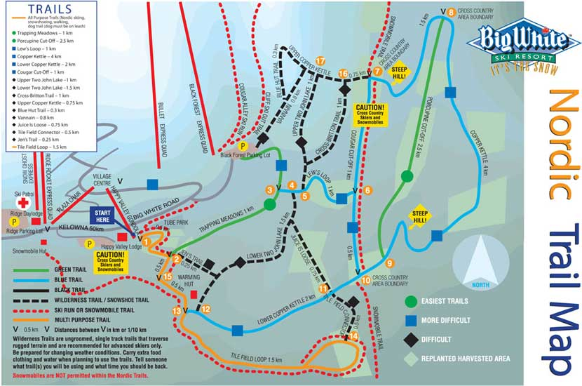 Big White Large Scale Nordic Trail Map