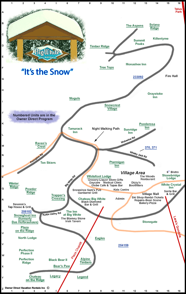 Big White Canada Village Map Big White Village Map | Owner Direct Vacation Rentals Inc.