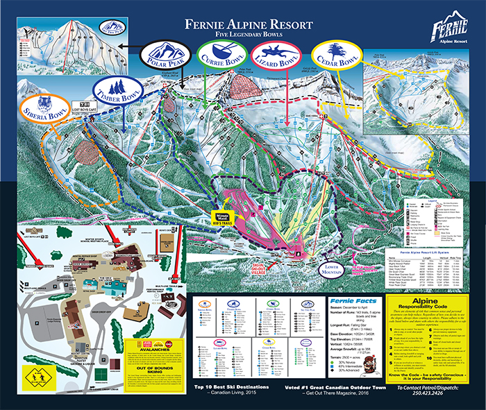 Fernie Large Trail Map Owner Direct Vacation Rentals Inc