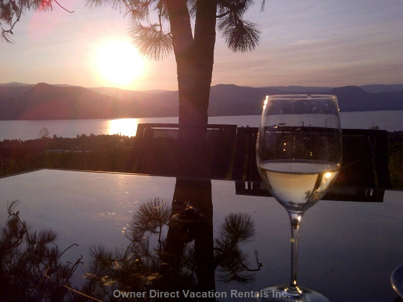 Enjoy a glass of wine in the sunset in Naramata