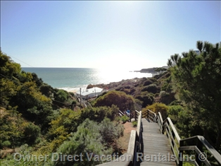 Direct Footpath to Oura Beach, Algarve, Portugal