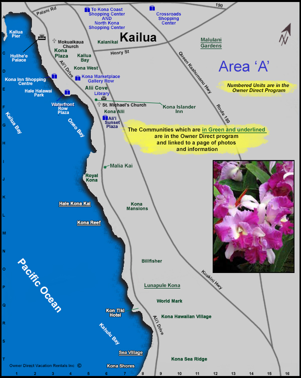 Kailua Kona Area A Map Owner Direct Vacation Rentals Inc