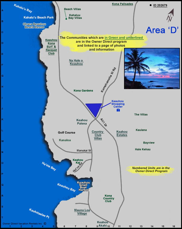 Kailua Kona Area D Map Owner Direct Vacation Rentals Inc