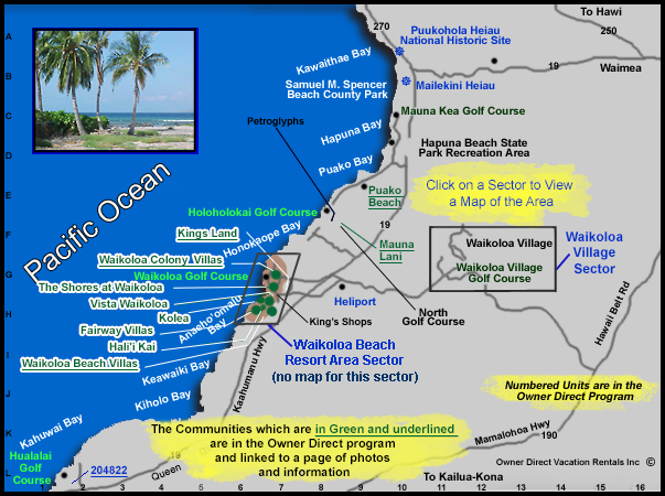 Florida Travel Guide Map.South Kohala Coast Map Owner Direct Vacation Rentals Inc