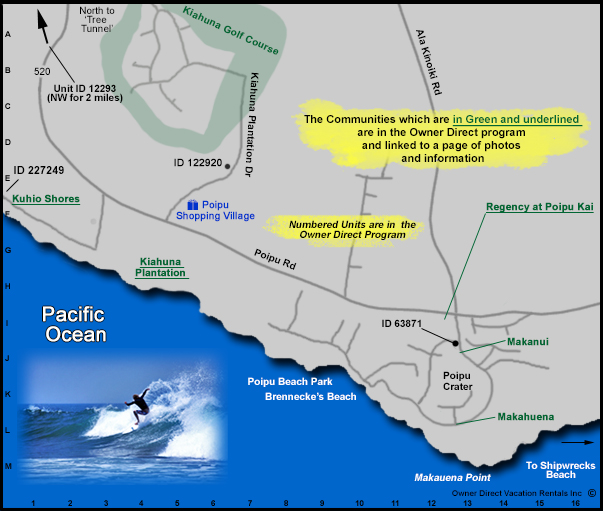 Poipu Beach Map Owner Direct Vacation Rentals Inc