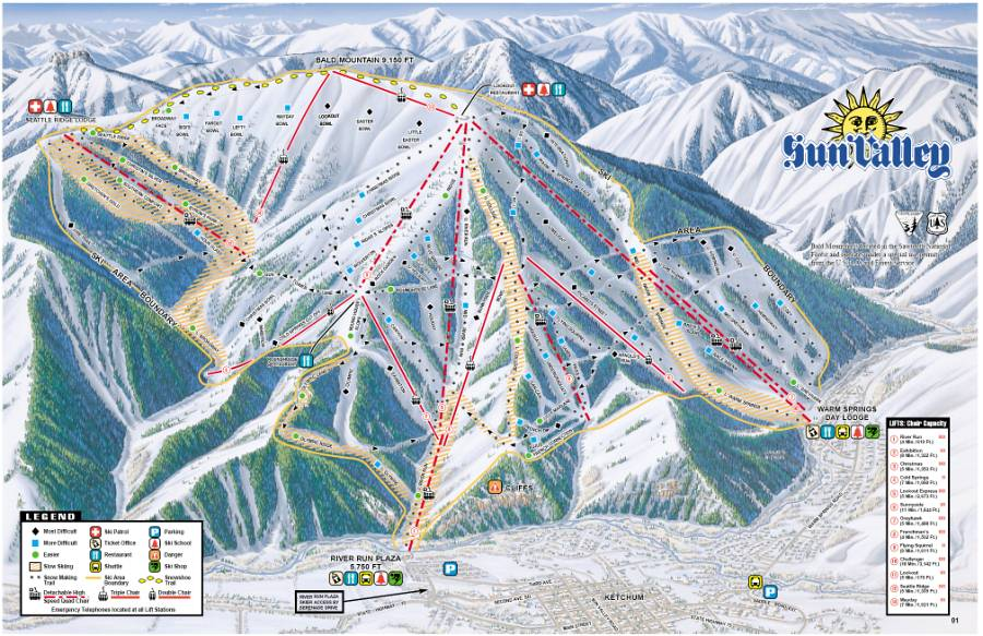 Bald Mountain Trail Map in Sun Valley