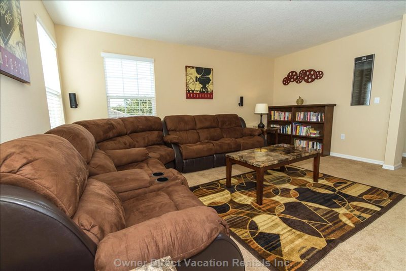 Theater Room with Reclining Sofas and Read/Swap Library