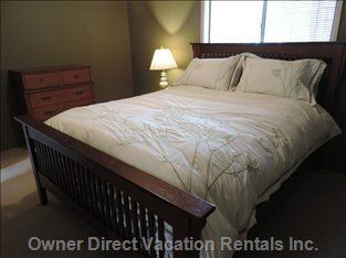The 2nd Bedroom Contains a Medium-Soft Queen Size Bed with a Feather Bed Mattress Topper.