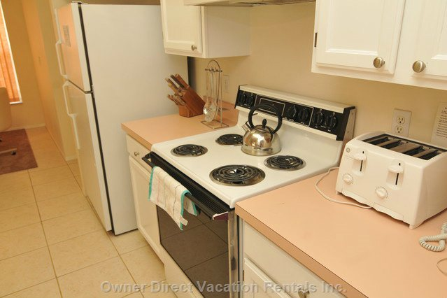 Open, Fully Equipped Kitchen