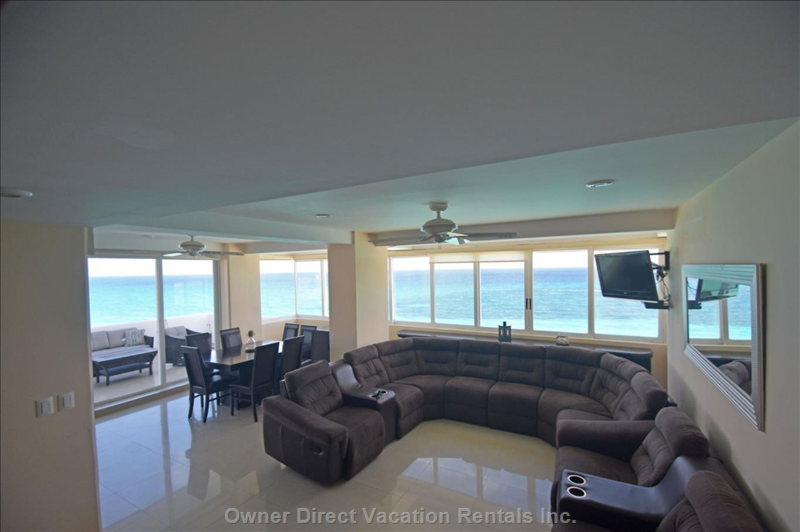 Enjoy the Ocean Views with your Whole Family in the Comfort of this Huge Sectional.