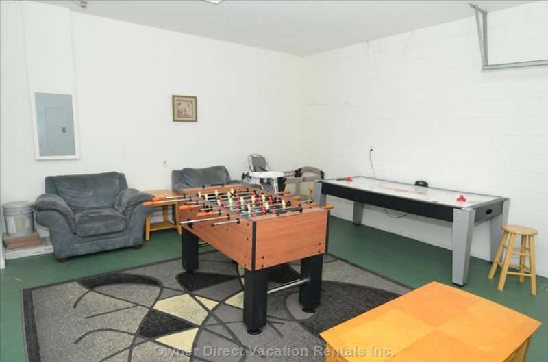 Games Room with Air Hockey and Foosball.