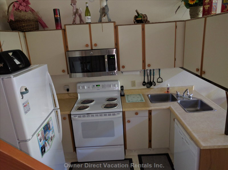 Kitchen Showing Self Cleaning Oven and Stove, over the Range Micro Wave, Dishwasher and I Pod