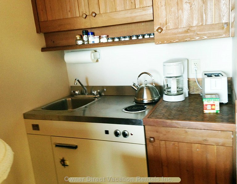 Kitchenette with Two Burner Stove, Microwave and Toaster Oven