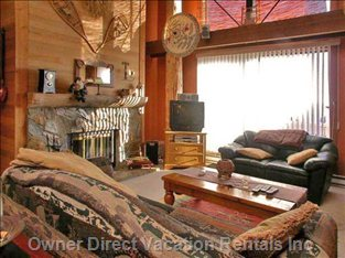 Living Room - Cozy up and Relax in Comfortable Sofas (3) in Front of the Fire Place