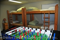 Bunk Beds, Foosball and 3 Piece Bathroom.  Easy Access to Hot Tub!
