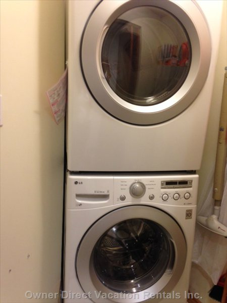 Full Size Washer and Dryer in Small Laundry Room