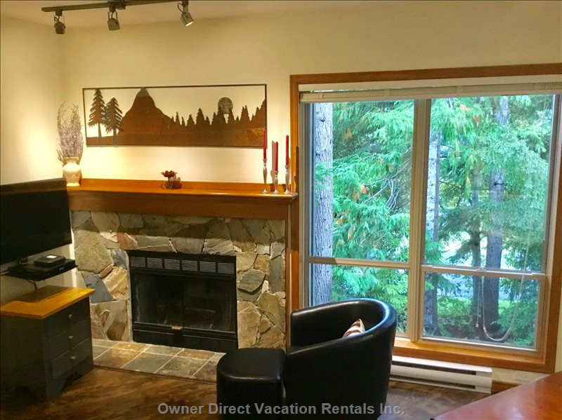 Fire Place and Partial View of Mountains