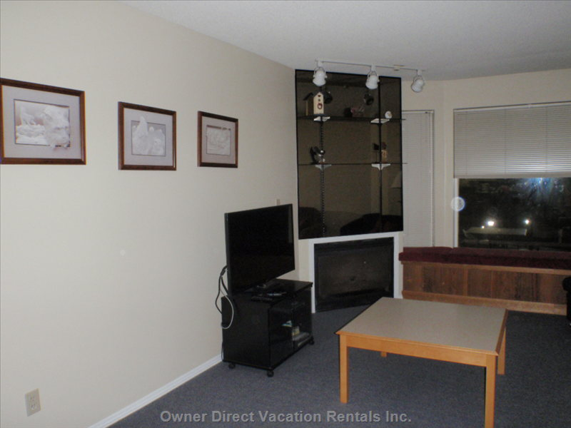 The Living Room - Flat Screen Tv,  Gas Fireplace,  and Bay Window View of Hummingbird Run