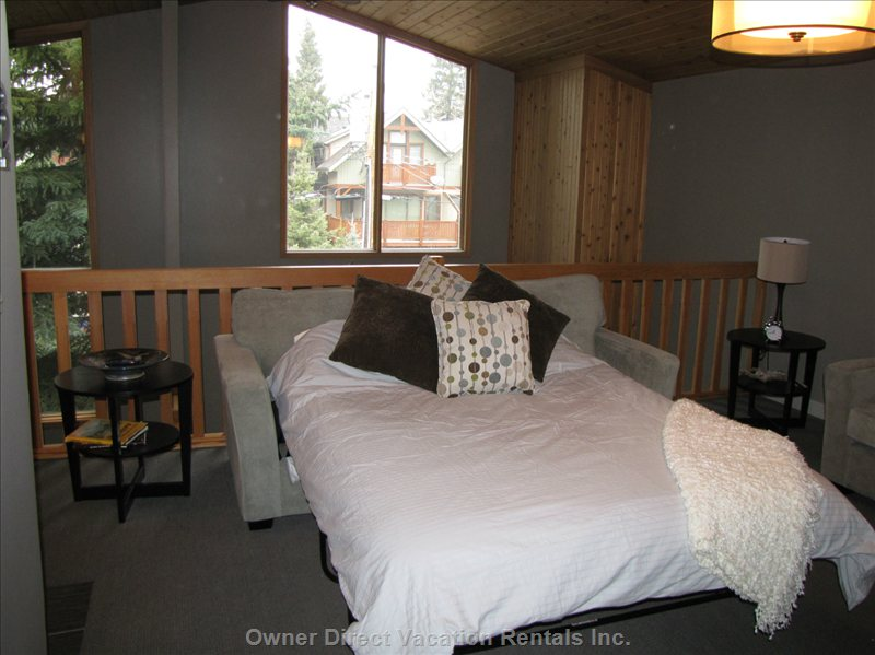 Queen Bed in Loft - Couch Easily Converts to a Comfy Queen Size Bed.