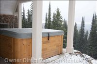 Hot Tub at Ground Level Overlooks Ski out to Runs below