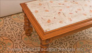 Details of the Refurbished Coffee Table and the Preserved Old Tiles (1924!!!).
