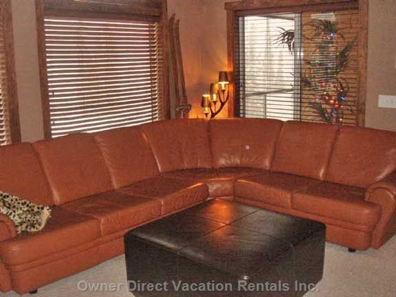 High End Spacious Leather Entertaining Sectional Sofa