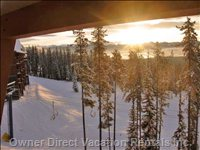 Featuring Morning Sun on Fresh Powder for Breakfast. Deck View.