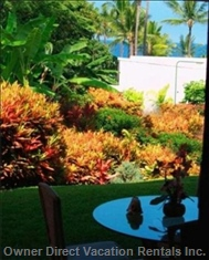 Marble Tiled Lanai is Comfortably Furnished for Relaxation.  Peek a Boo View