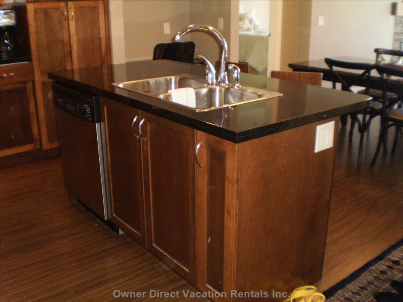 Island with Double Sink, Electrical Outlet, Dishwasher Tucked underneath, and Black Granite.