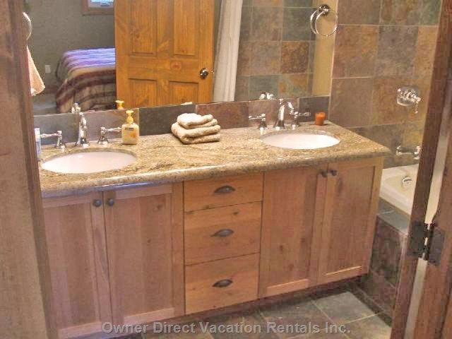 Master Bathroom with Double Sinks and Grohe Fixtures.