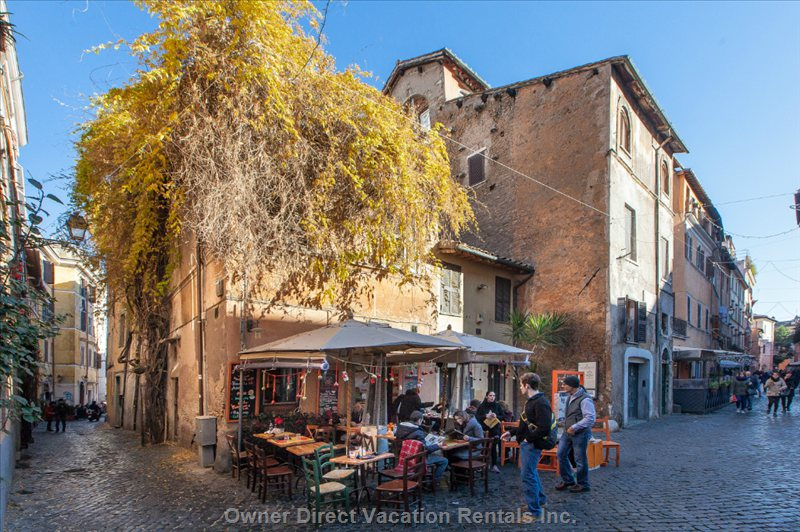 One of the many Pubs in via Della Scala in the Heart of Trastevere Area of Rome Famous for its Nightlife.