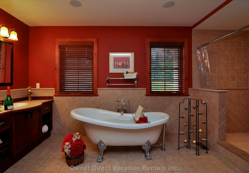 "Master Bath Features ""Cleopatra"" Soaking Tub. All Bathrooms Feature Heated Floors."