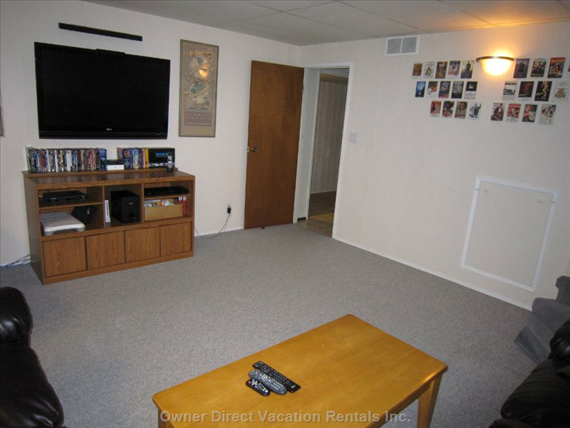 "Watch a Movie Or Play Wii on the 47"" HD TV Downstairs."