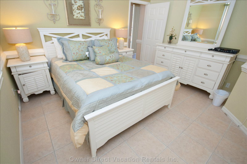 1st Floor Queen Bedroom with Beautiful White Plantation Collection Furniture