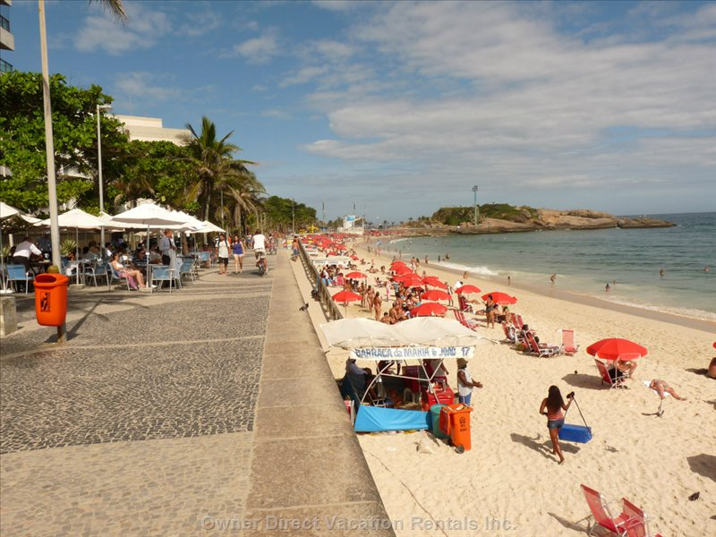 The Beach, 10 Yards from the Loft, on your Left the Beach with the Rocky Point of Arpoador